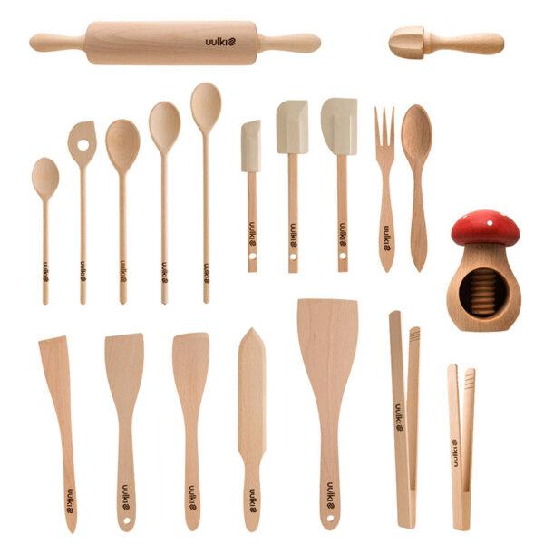 Uulki wooden kitchen tools set deluxe 20 pieces