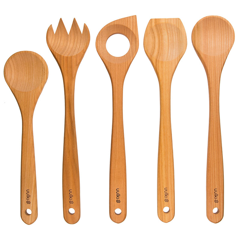 set cooking spoons wood