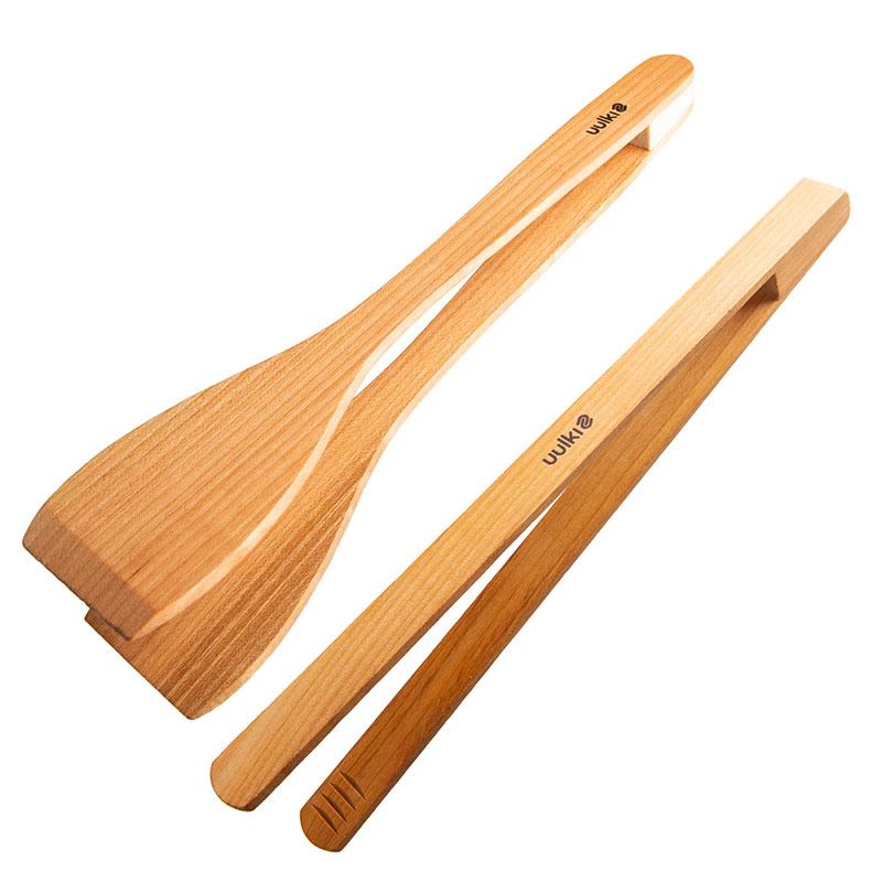 uulki serveertang en spateltang uit kersenhout