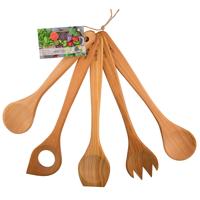 Uulki wooden cooking spoons set cherry