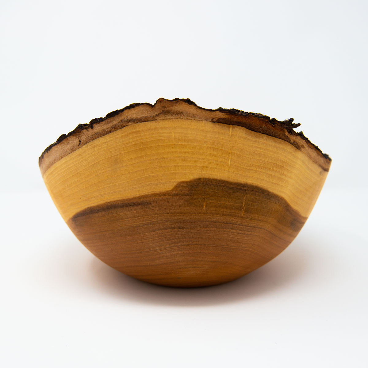 rustic wooden fruit bowl