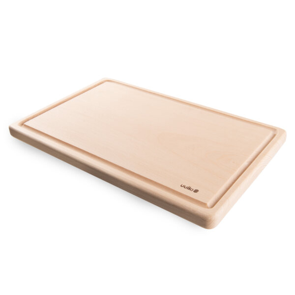 uulki compact wooden cutting board with juice well