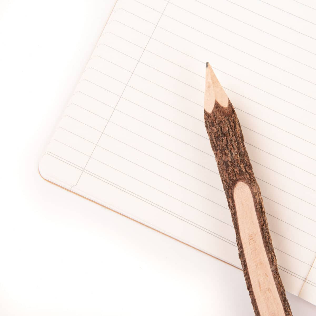 rustic writing pencil with bark