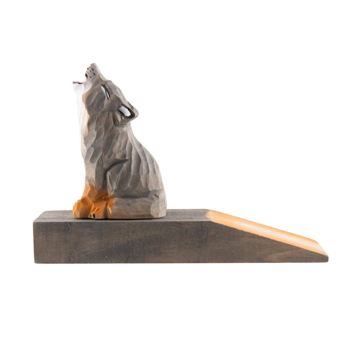 uulki wooden door stop wolf