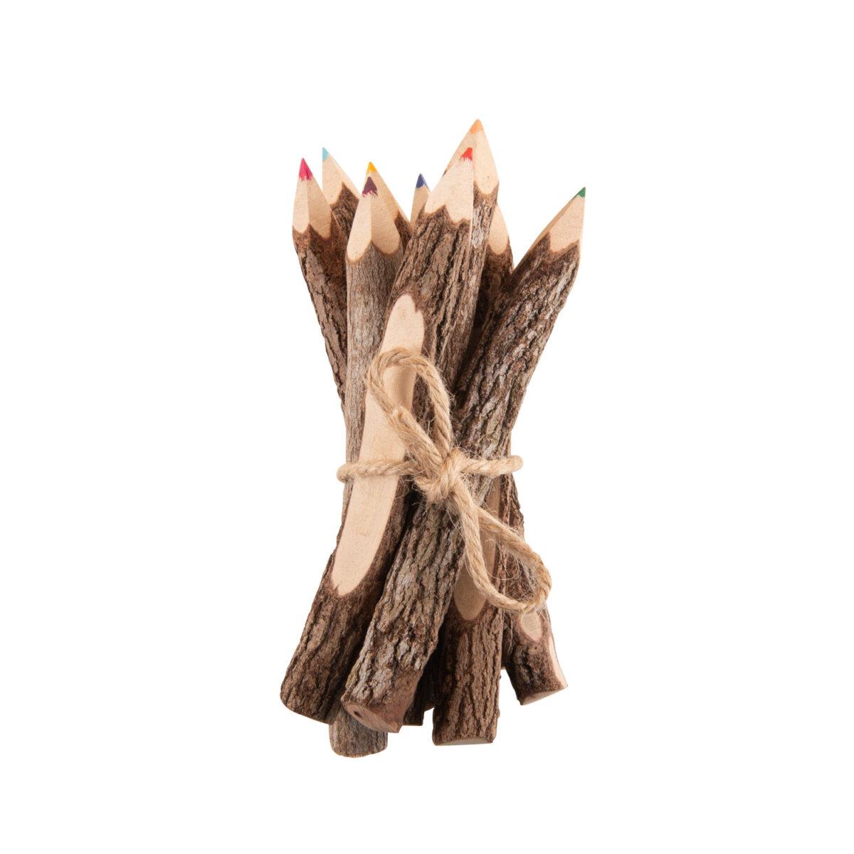 wooden coloured pencils