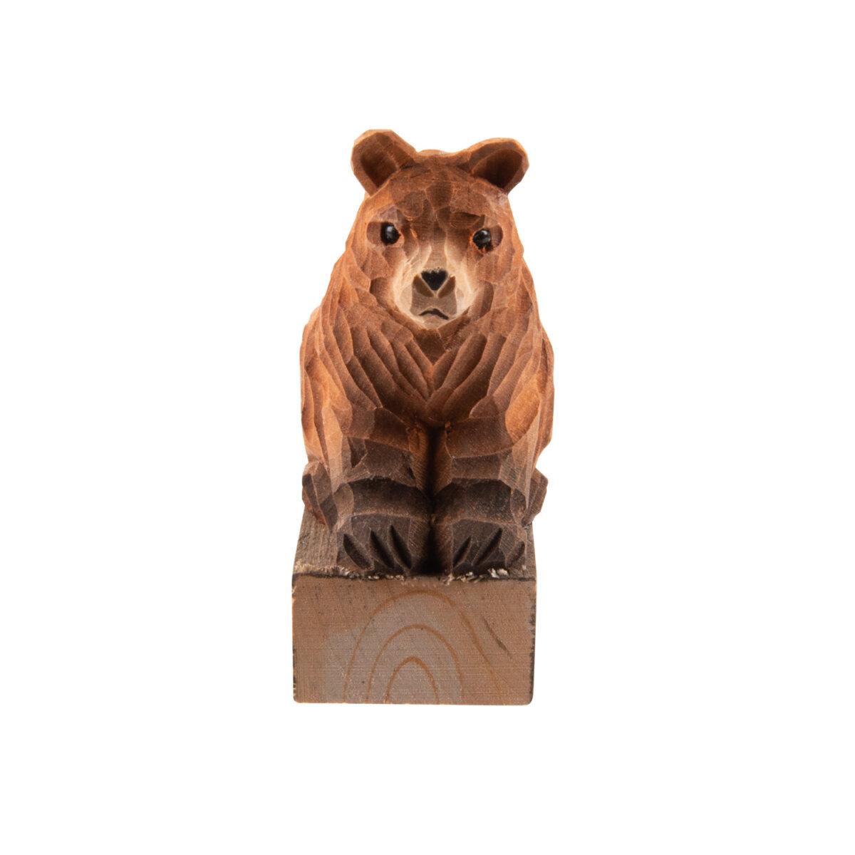 wooden door wedge block bear