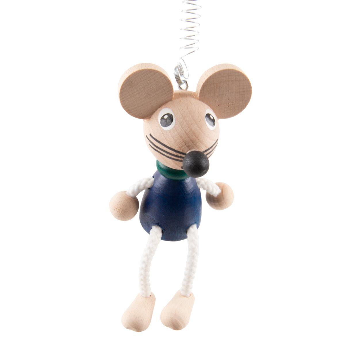 Uulki houten hangfiguur muis blauw